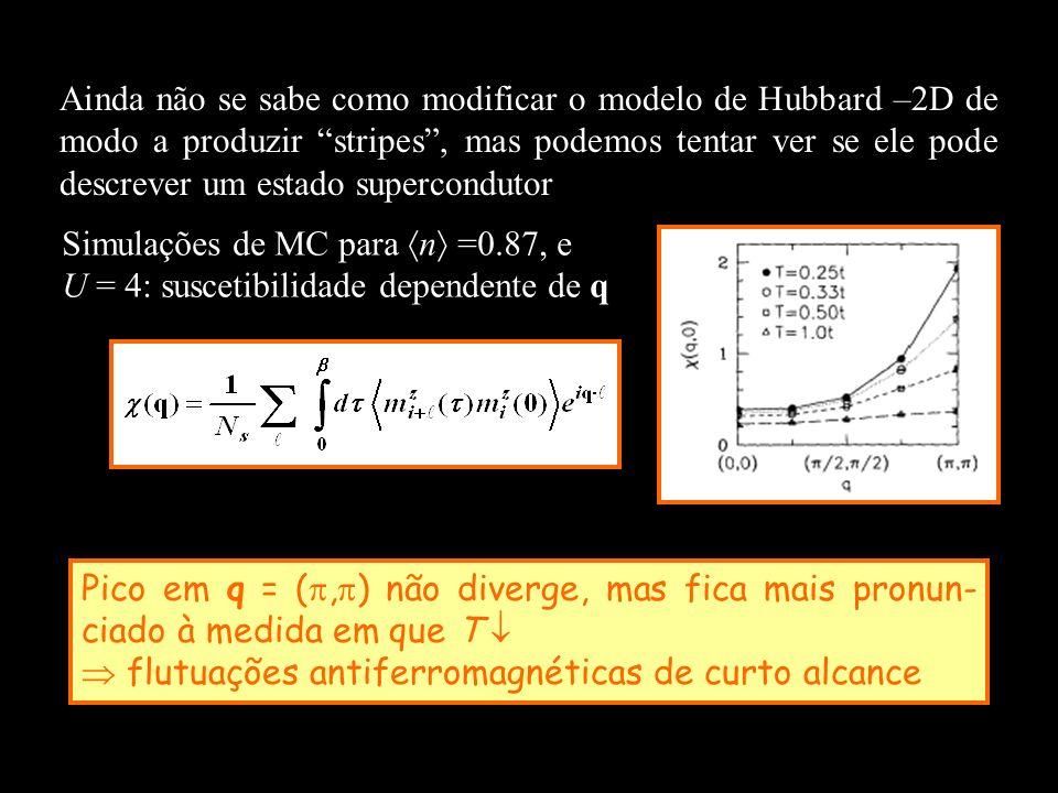Ainda não se sabe como modificar o modelo de Hubbard –2D de modo a produzir stripes, mas podemos tentar ver se ele pode descrever um estado supercondu