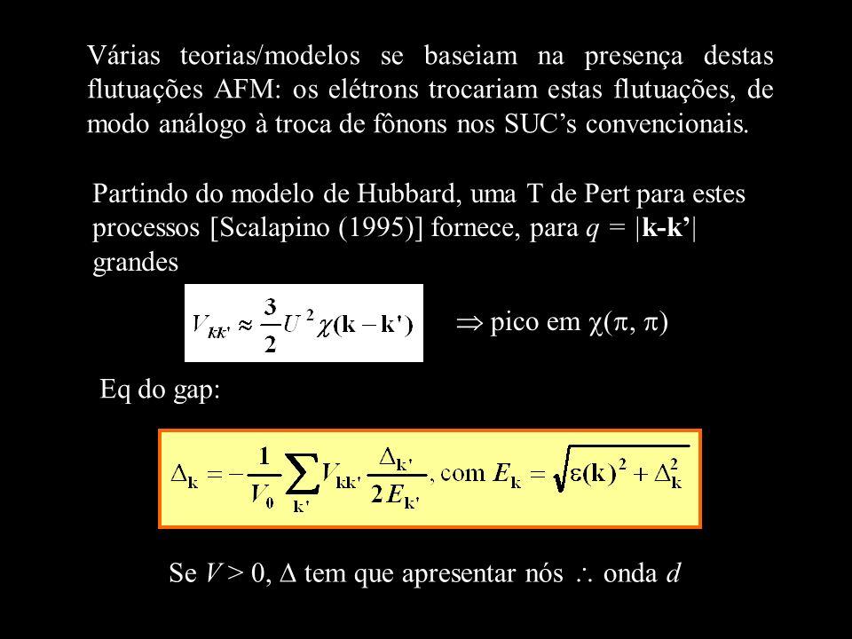 Várias teorias/modelos se baseiam na presença destas flutuações AFM: os elétrons trocariam estas flutuações, de modo análogo à troca de fônons nos SUC