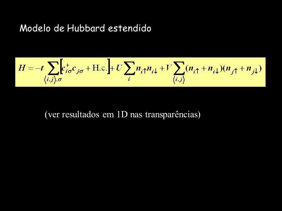 Modelo de Hubbard estendido (ver resultados em 1D nas transparências)