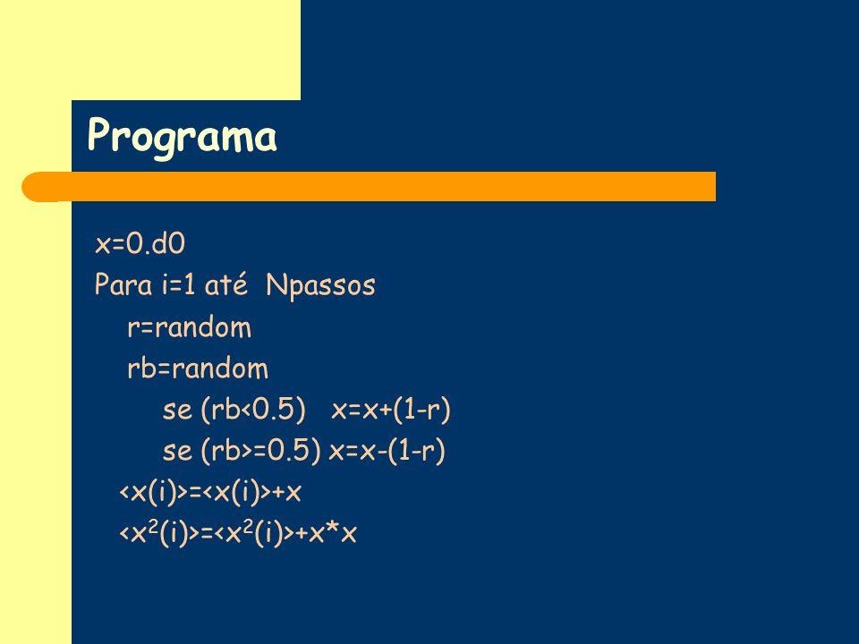 Programa x=0.d0 Para i=1 até Npassos r=random rb=random se (rb<0.5) x=x+(1-r) se (rb>=0.5) x=x-(1-r) = +x = +x*x