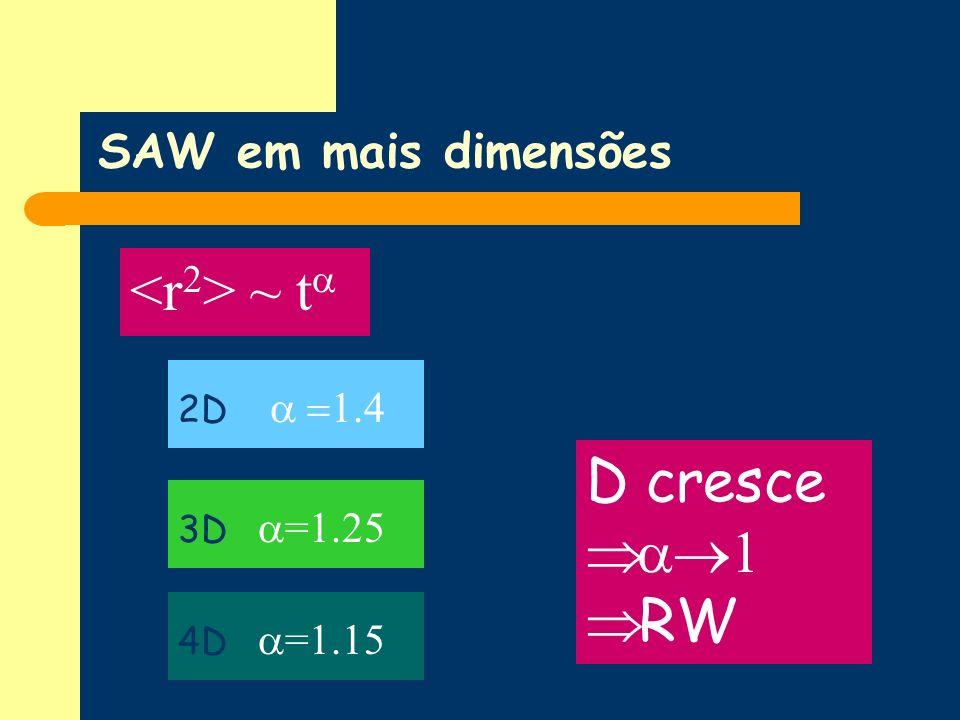 SAW em mais dimensões ~ t 2D 1.4 3D =1.25 4D =1.15 D cresce 1 RW