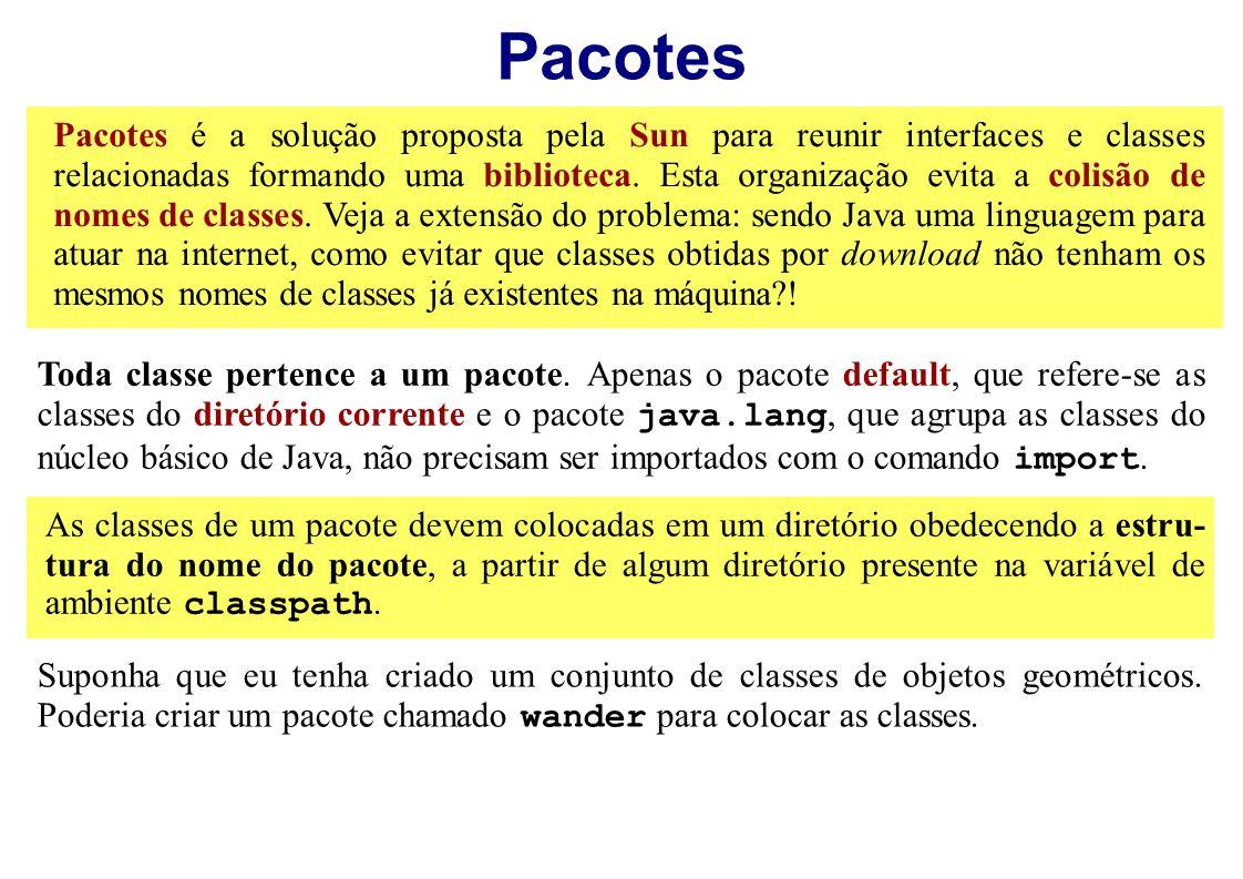 Pacotes Pacotes é a solução proposta pela Sun para reunir interfaces e classes relacionadas formando uma biblioteca. Esta organização evita a colisão