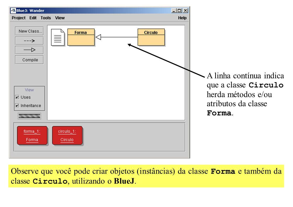 A linha contínua indica que a classe Circulo herda métodos e/ou atributos da classe Forma. Observe que você pode criar objetos (instâncias) da classe