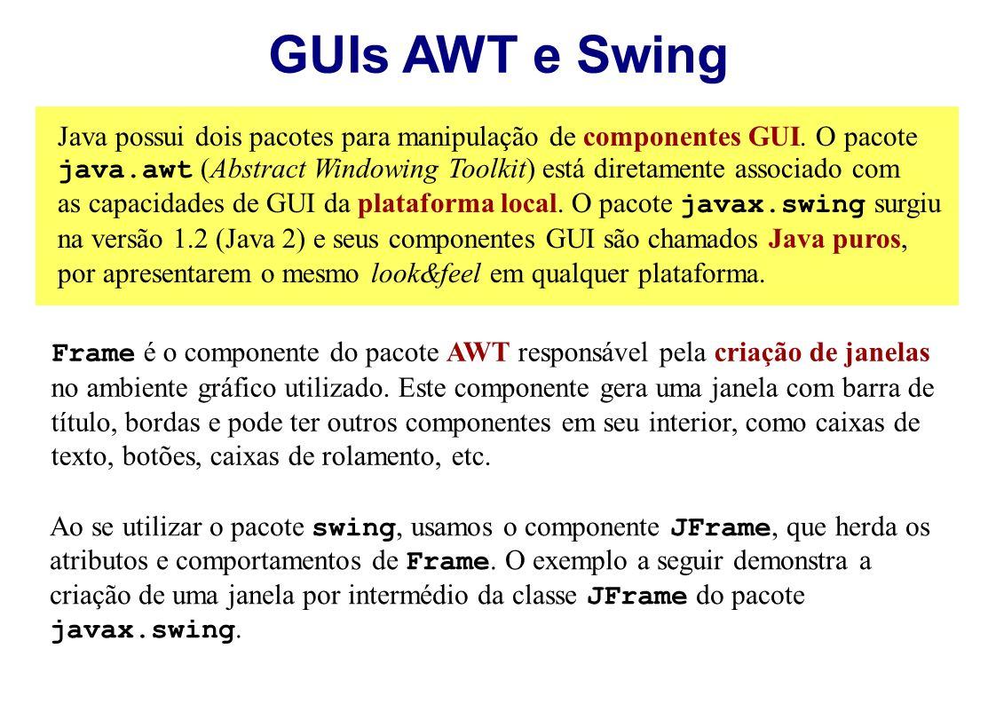 GUIs AWT e Swing Java possui dois pacotes para manipulação de componentes GUI. O pacote java.awt (Abstract Windowing Toolkit) está diretamente associa