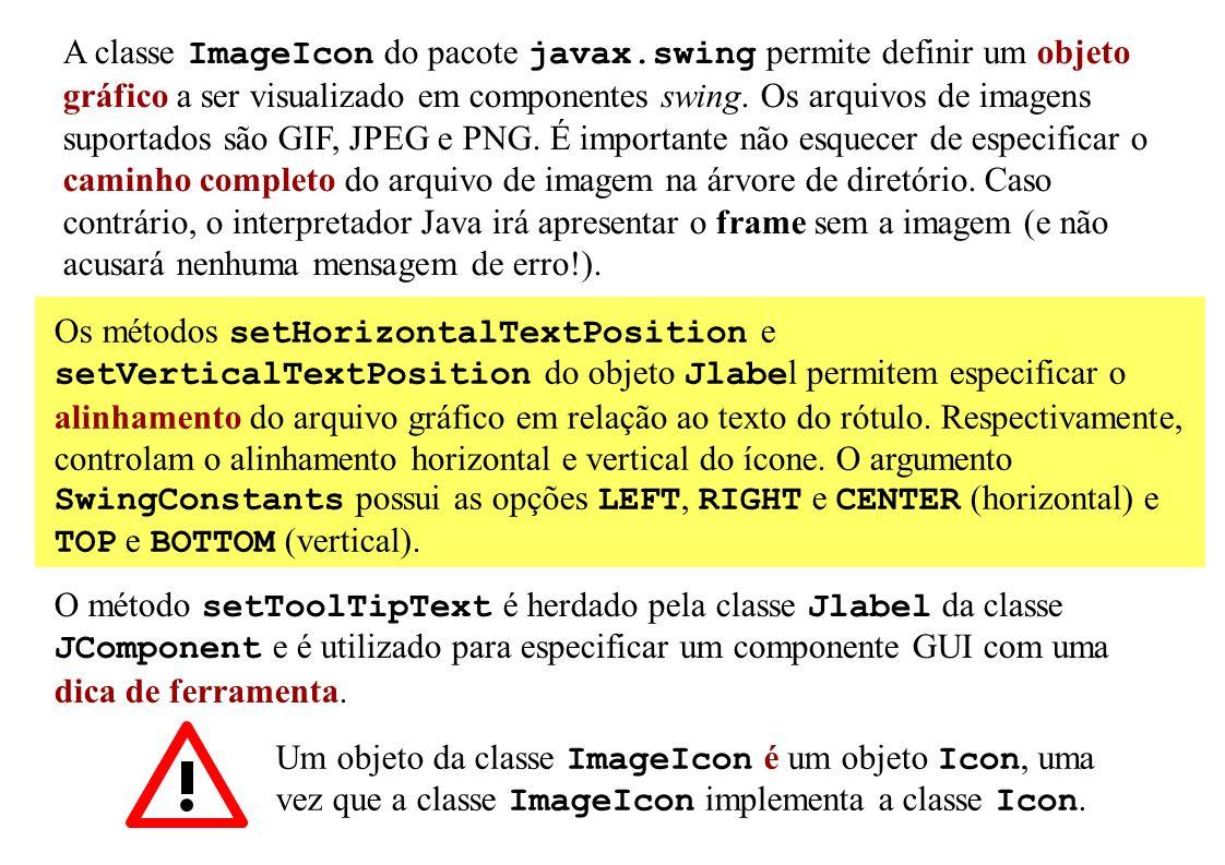 A classe ImageIcon do pacote javax.swing permite definir um objeto gráfico a ser visualizado em componentes swing. Os arquivos de imagens suportados s