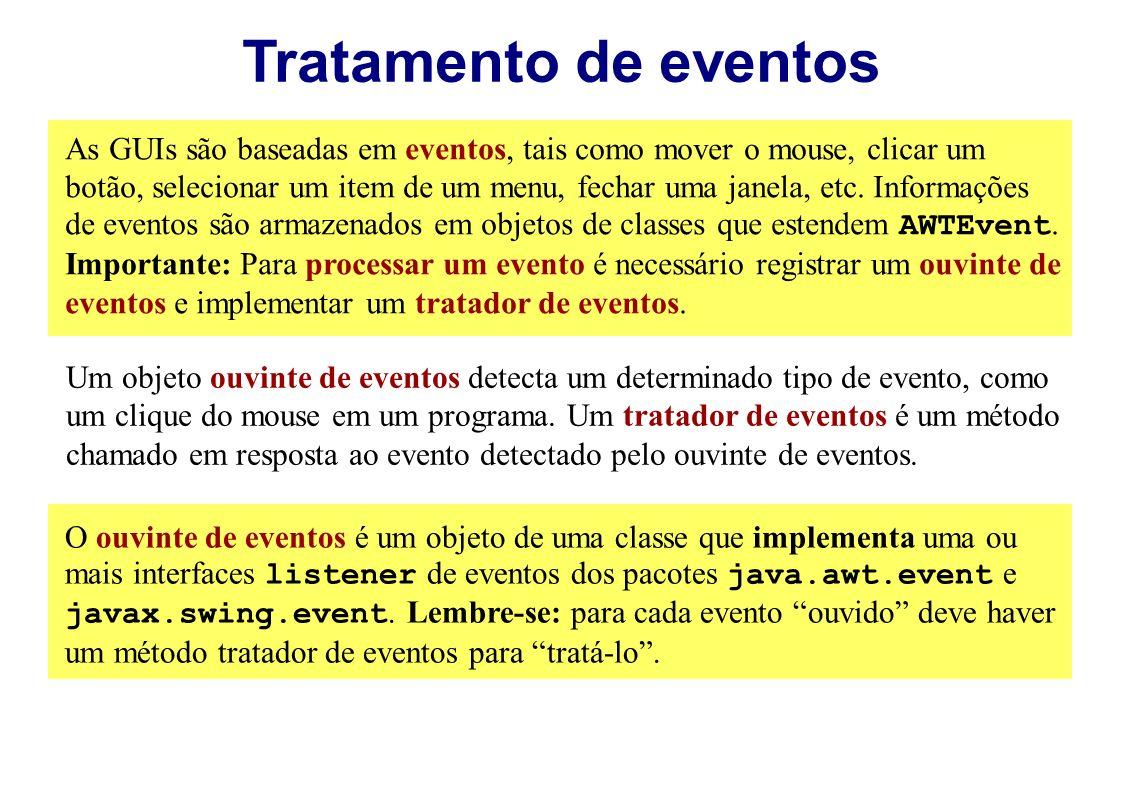 As GUIs são baseadas em eventos, tais como mover o mouse, clicar um botão, selecionar um item de um menu, fechar uma janela, etc. Informações de event