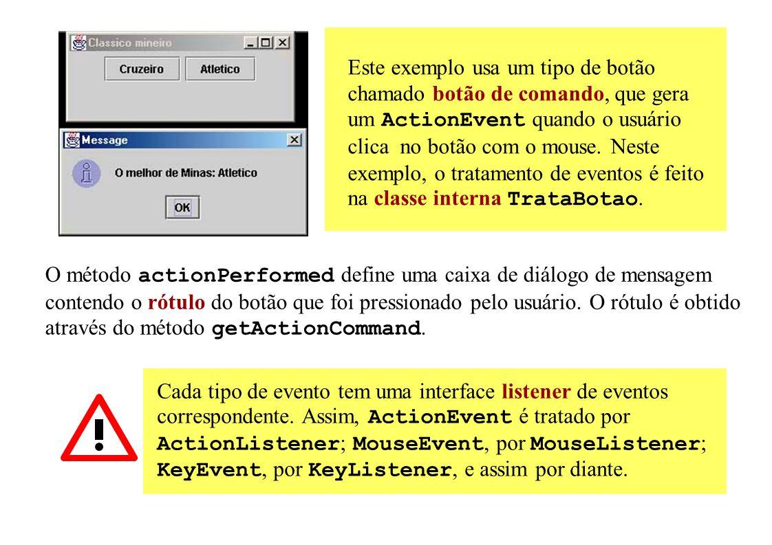 Este exemplo usa um tipo de botão chamado botão de comando, que gera um ActionEvent quando o usuário clica no botão com o mouse. Neste exemplo, o trat