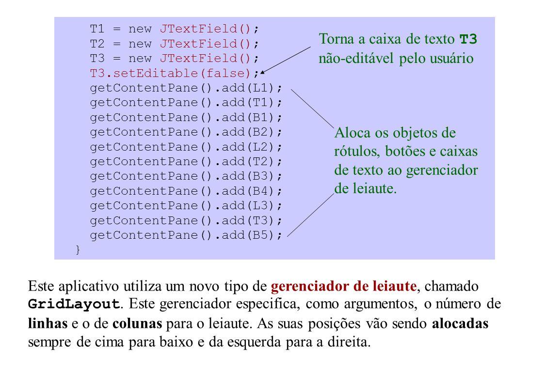 T1 = new JTextField(); T2 = new JTextField(); T3 = new JTextField(); T3.setEditable(false); getContentPane().add(L1); getContentPane().add(T1); getContentPane().add(B1); getContentPane().add(B2); getContentPane().add(L2); getContentPane().add(T2); getContentPane().add(B3); getContentPane().add(B4); getContentPane().add(L3); getContentPane().add(T3); getContentPane().add(B5); } Este aplicativo utiliza um novo tipo de gerenciador de leiaute, chamado GridLayout.
