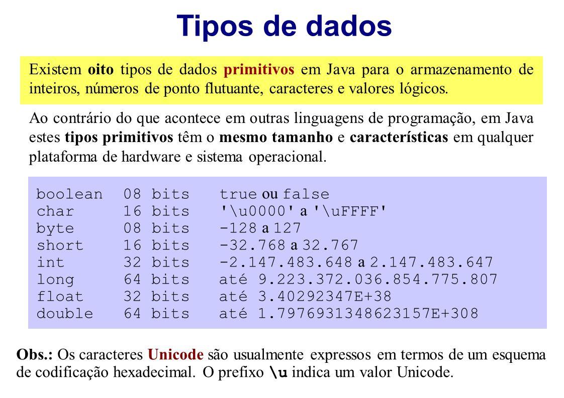 Tipos de dados Existem oito tipos de dados primitivos em Java para o armazenamento de inteiros, números de ponto flutuante, caracteres e valores lógic