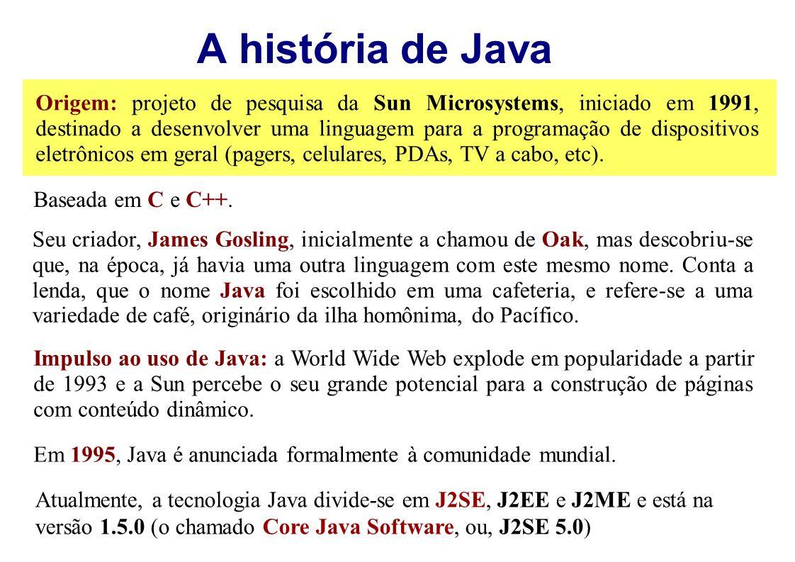 A história de Java Origem: projeto de pesquisa da Sun Microsystems, iniciado em 1991, destinado a desenvolver uma linguagem para a programação de disp