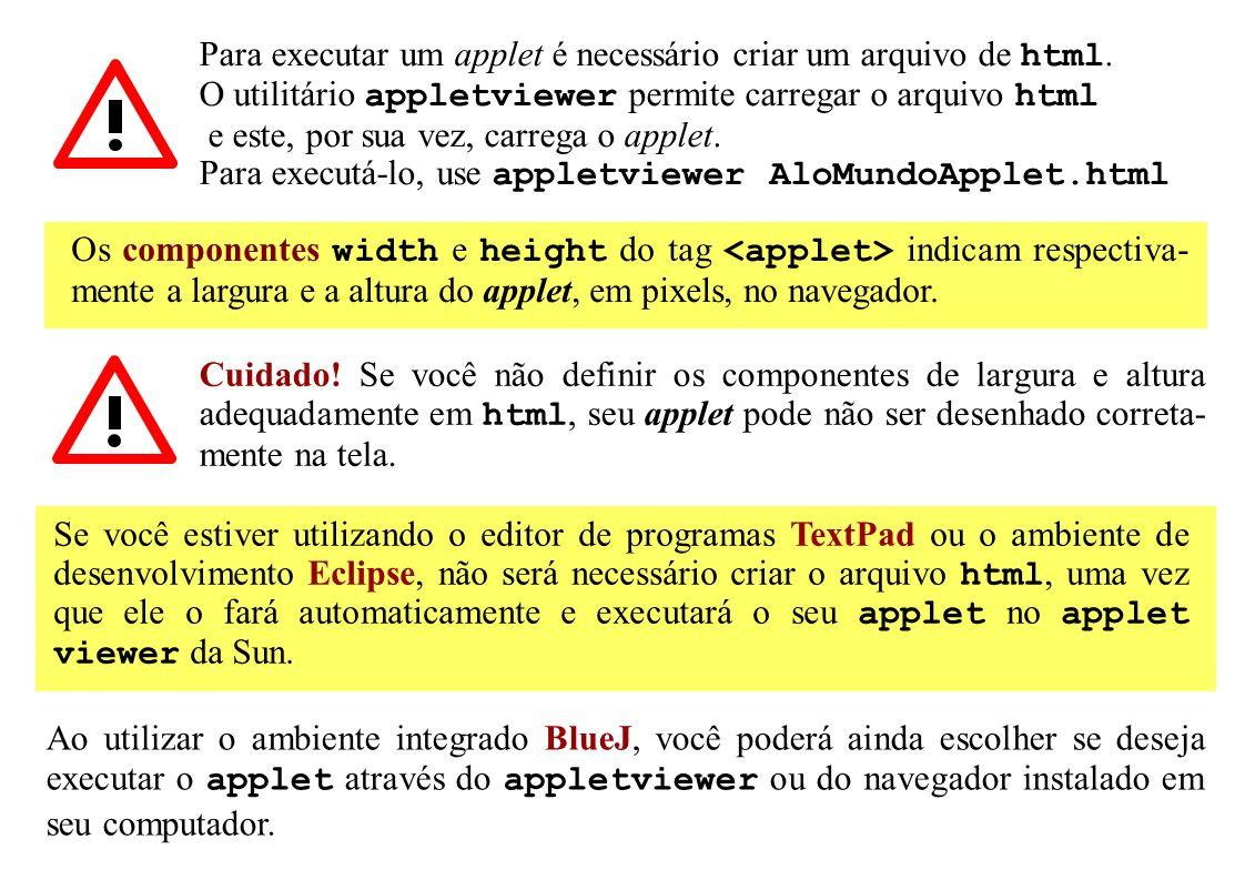 Para executar um applet é necessário criar um arquivo de html. O utilitário appletviewer permite carregar o arquivo html e este, por sua vez, carrega