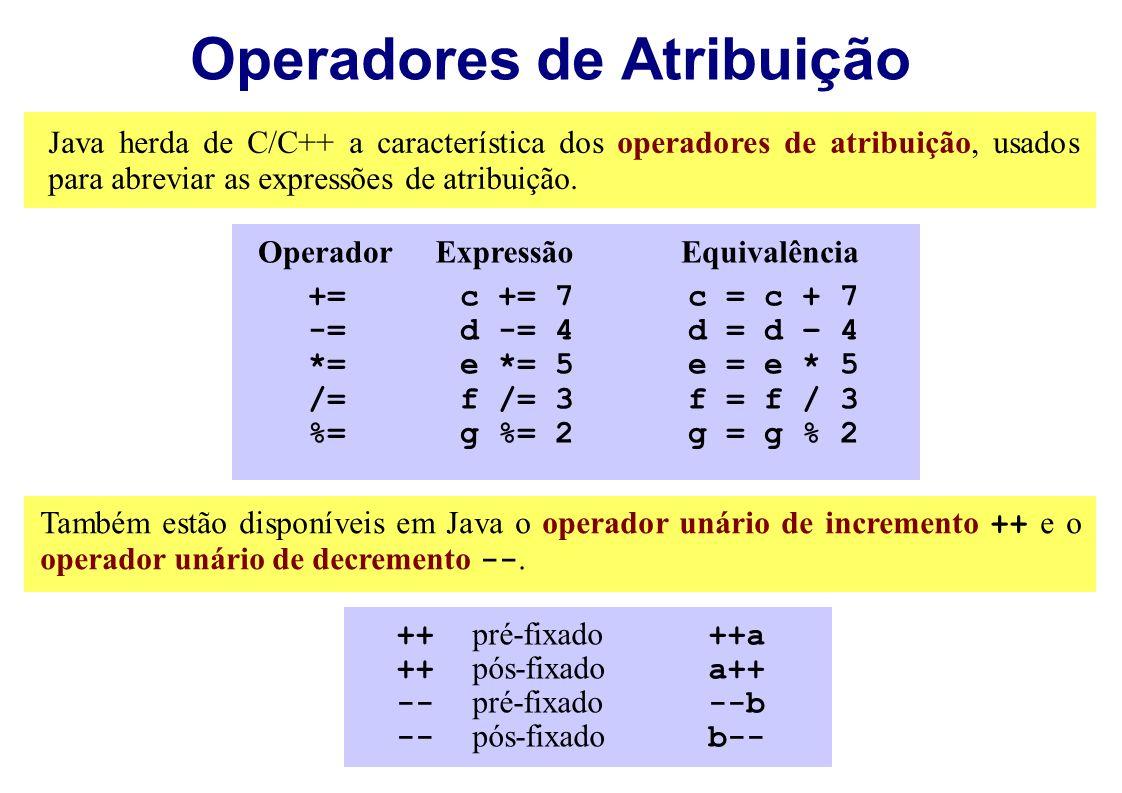 Operadores de Atribuição Java herda de C/C++ a característica dos operadores de atribuição, usados para abreviar as expressões de atribuição. +=c += 7