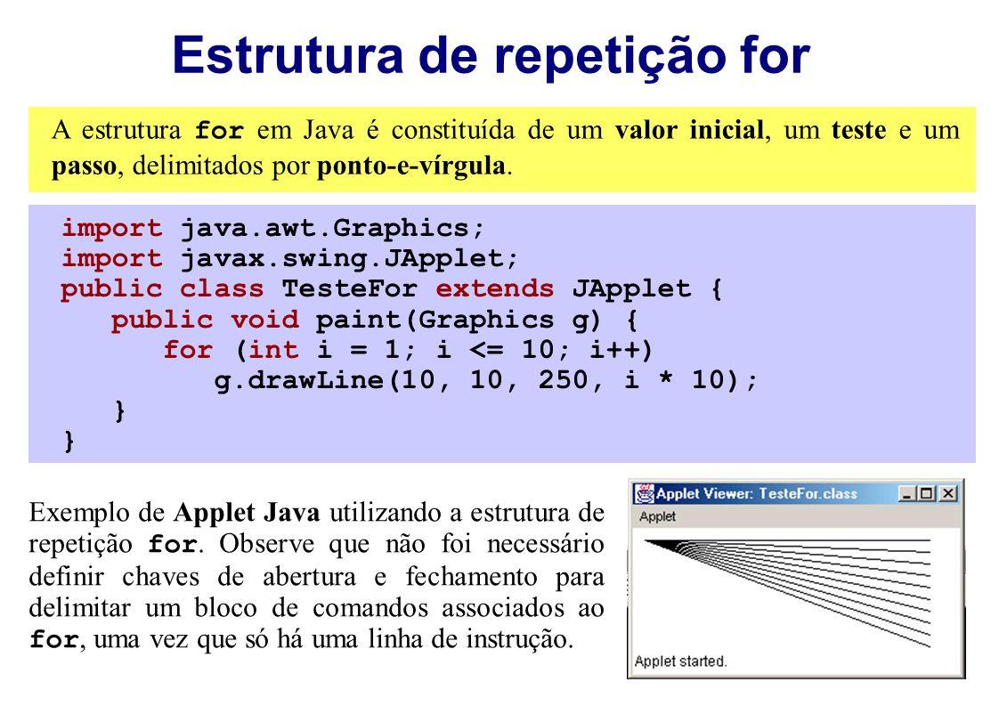 Estrutura de repetição for Exemplo de Applet Java utilizando a estrutura de repetição for. Observe que não foi necessário definir chaves de abertura e