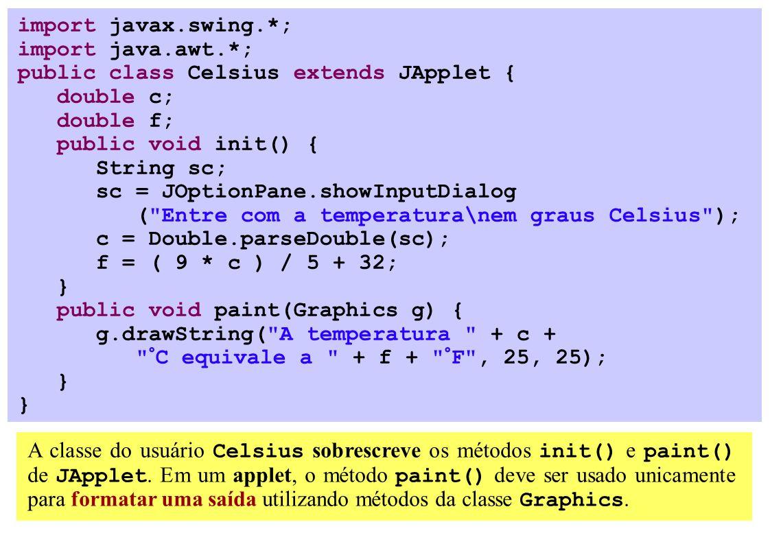 import javax.swing.*; import java.awt.*; public class Celsius extends JApplet { double c; double f; public void init() { String sc; sc = JOptionPane.showInputDialog ( Entre com a temperatura\nem graus Celsius ); c = Double.parseDouble(sc); f = ( 9 * c ) / 5 + 32; } public void paint(Graphics g) { g.drawString( A temperatura + c + °C equivale a + f + °F , 25, 25); } A classe do usuário Celsius sobrescreve os métodos init() e paint() de JApplet.