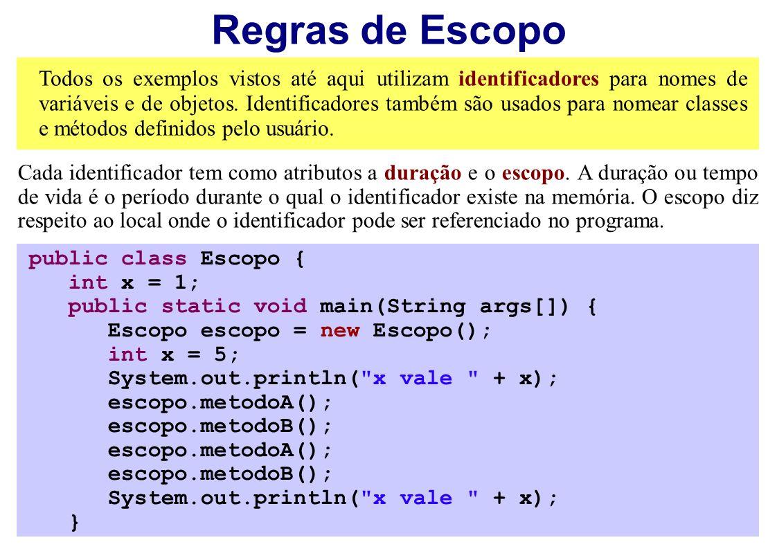 Regras de Escopo Todos os exemplos vistos até aqui utilizam identificadores para nomes de variáveis e de objetos. Identificadores também são usados pa