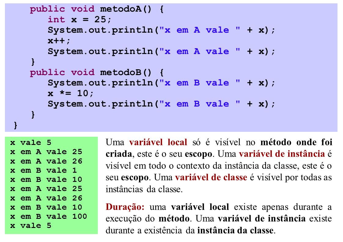 public void metodoA() { int x = 25; System.out.println(