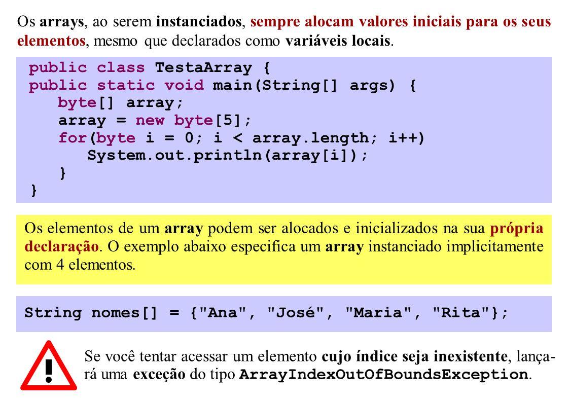 Os elementos de um array podem ser alocados e inicializados na sua própria declaração. O exemplo abaixo especifica um array instanciado implicitamente