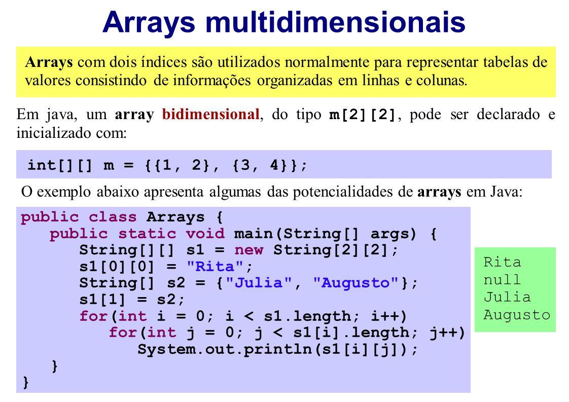 Arrays multidimensionais Arrays com dois índices são utilizados normalmente para representar tabelas de valores consistindo de informações organizadas