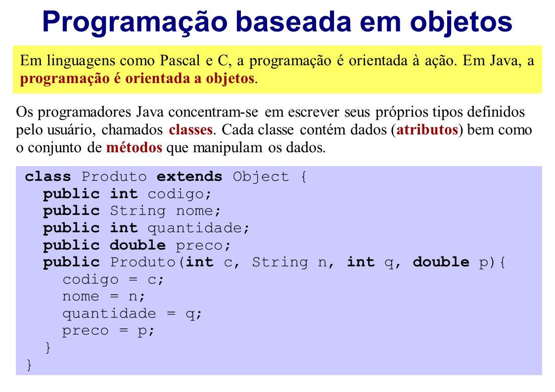 Programação baseada em objetos Em linguagens como Pascal e C, a programação é orientada à ação. Em Java, a programação é orientada a objetos. Os progr
