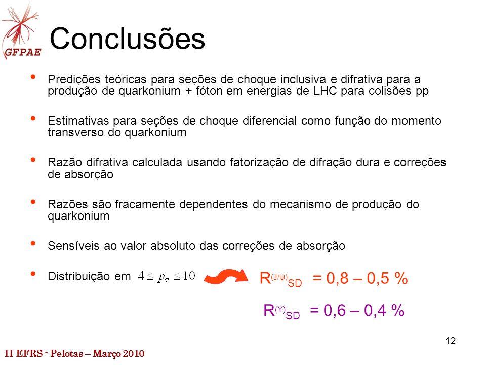 II EFRS - Pelotas – Março 2010 12 Conclusões Predições teóricas para seções de choque inclusiva e difrativa para a produção de quarkonium + fóton em energias de LHC para colisões pp Estimativas para seções de choque diferencial como função do momento transverso do quarkonium Razão difrativa calculada usando fatorização de difração dura e correções de absorção Razões são fracamente dependentes do mecanismo de produção do quarkonium Sensíveis ao valor absoluto das correções de absorção Distribuição em R (J/ψ) SD = 0,8 – 0,5 % R (Υ) SD = 0,6 – 0,4 %