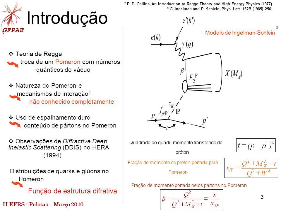 II EFRS - Pelotas – Março 2010 3 Introdução Teoria de Regge troca de um Pomeron com números quânticos do vácuo Natureza do Pomeron e mecanismos de interação 2 não conhecido completamente Uso de espalhamento duro conteúdo de pártons no Pomeron Observações de Diffractive Deep Inelastic Scattering (DDIS) no HERA (1994) Distribuições de quarks e glúons no Pomeron 2 P.