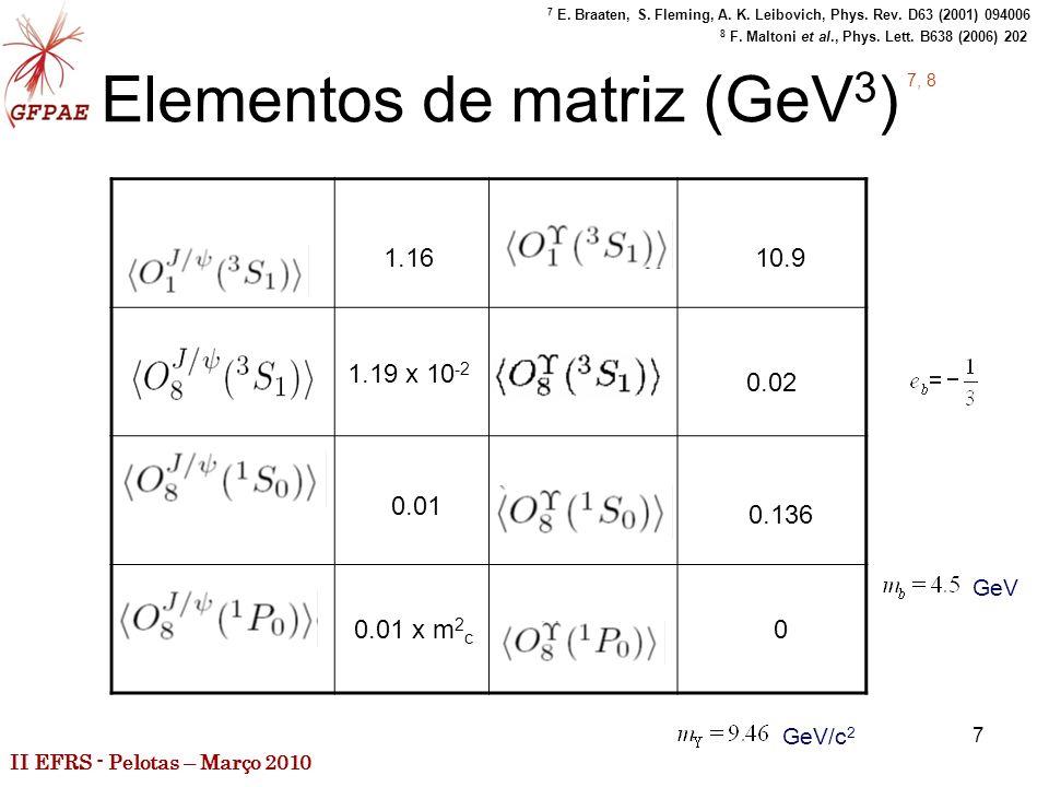 II EFRS - Pelotas – Março 2010 7 Elementos de matriz (GeV 3 ) 1.16 1.19 x 10 -2 0.01 0.01 x m 2 c 10.9 0.02 0.136 0 7, 8 7 E.