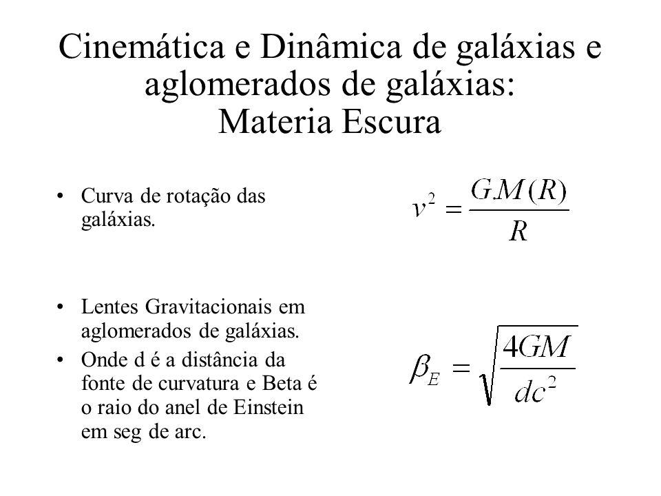 Cinemática e Dinâmica de galáxias e aglomerados de galáxias: Materia Escura Curva de rotação das galáxias. Lentes Gravitacionais em aglomerados de gal