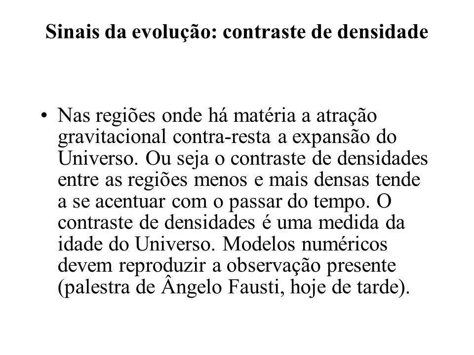 Sinais da evolução: contraste de densidade Nas regiões onde há matéria a atração gravitacional contra-resta a expansão do Universo. Ou seja o contrast