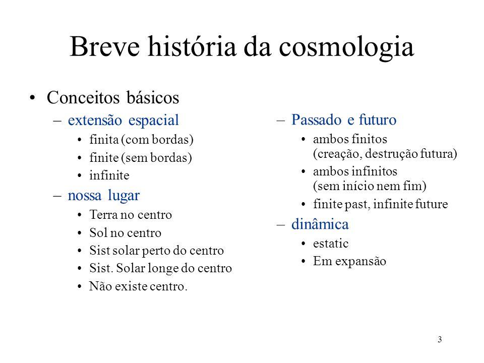 3 Breve história da cosmologia Conceitos básicos –extensão espacial finita (com bordas) finite (sem bordas) infinite –nossa lugar Terra no centro Sol