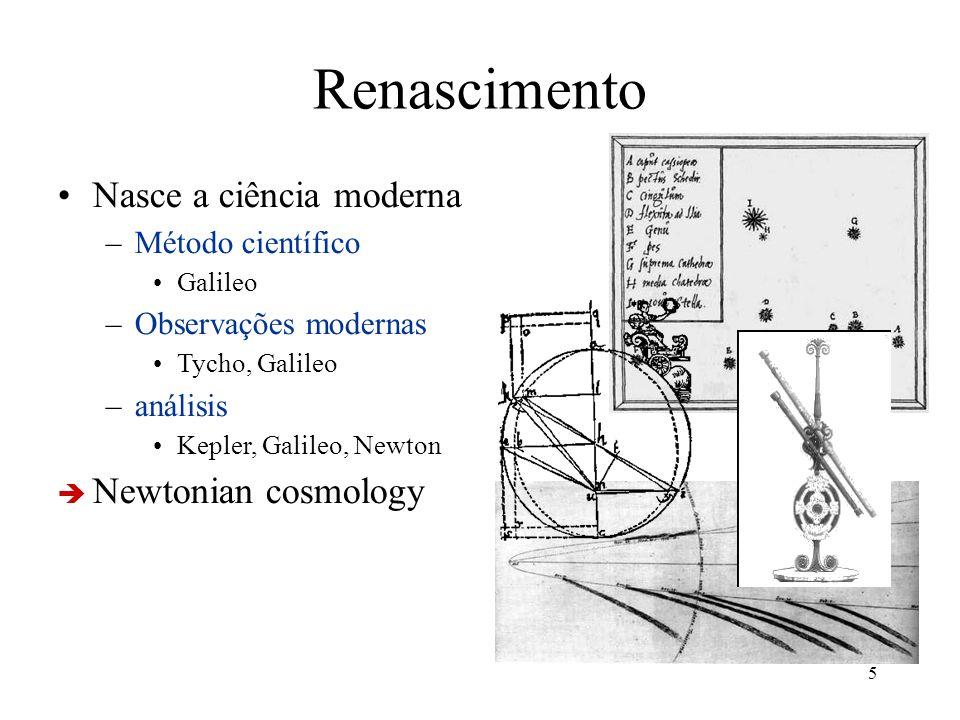 5 Renascimento Nasce a ciência moderna –Método científico Galileo –Observações modernas Tycho, Galileo –análisis Kepler, Galileo, Newton Newtonian cos