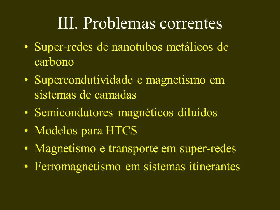 III. Problemas correntes Super-redes de nanotubos metálicos de carbono Supercondutividade e magnetismo em sistemas de camadas Semicondutores magnético