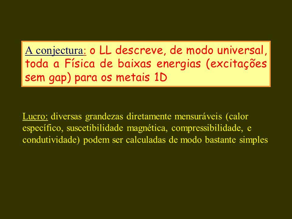 A conjectura: o LL descreve, de modo universal, toda a Física de baixas energias (excitações sem gap) para os metais 1D Lucro: diversas grandezas dire