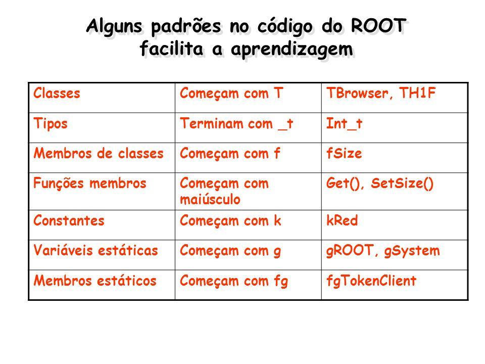 Alguns padrões no código do ROOT facilita a aprendizagem ClassesComeçam com TTBrowser, TH1F TiposTerminam com _tInt_t Membros de classesComeçam com ff