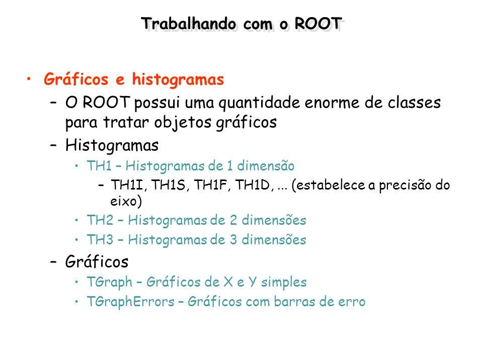 Trabalhando com o ROOT Gráficos e histogramas –O ROOT possui uma quantidade enorme de classes para tratar objetos gráficos –Histogramas TH1 – Histogra