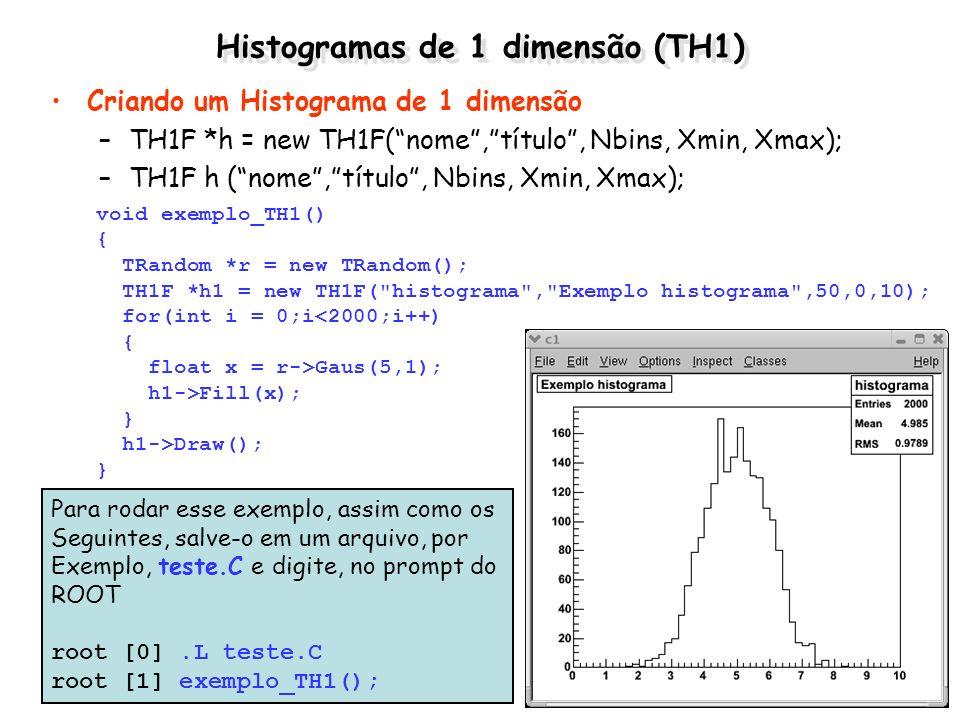 Histogramas de 1 dimensão (TH1) Criando um Histograma de 1 dimensão –TH1F *h = new TH1F(nome,título, Nbins, Xmin, Xmax); –TH1F h (nome,título, Nbins,