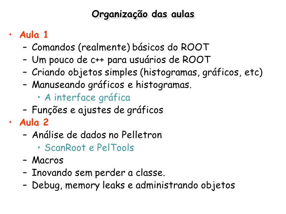 Organização das aulas Aula 1 –Comandos (realmente) básicos do ROOT –Um pouco de c++ para usuários de ROOT –Criando objetos simples (histogramas, gráfi