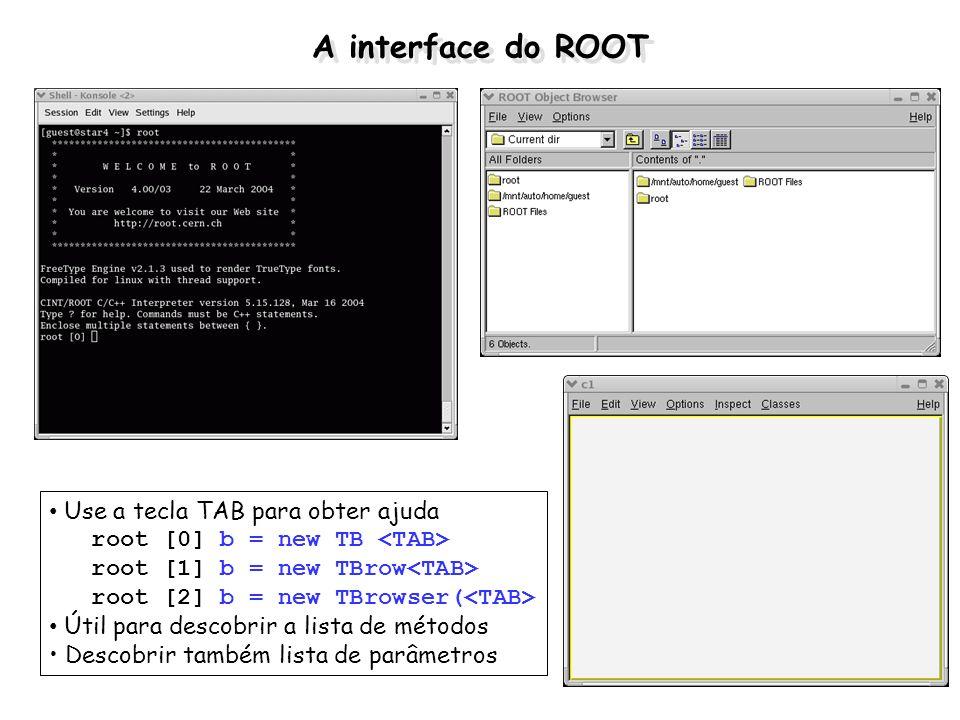 Fazendo ajustes mais complexos – Criando funções A interface gráfica do ROOT permite ajustes simples (Gaussiana, polinômios, etc).