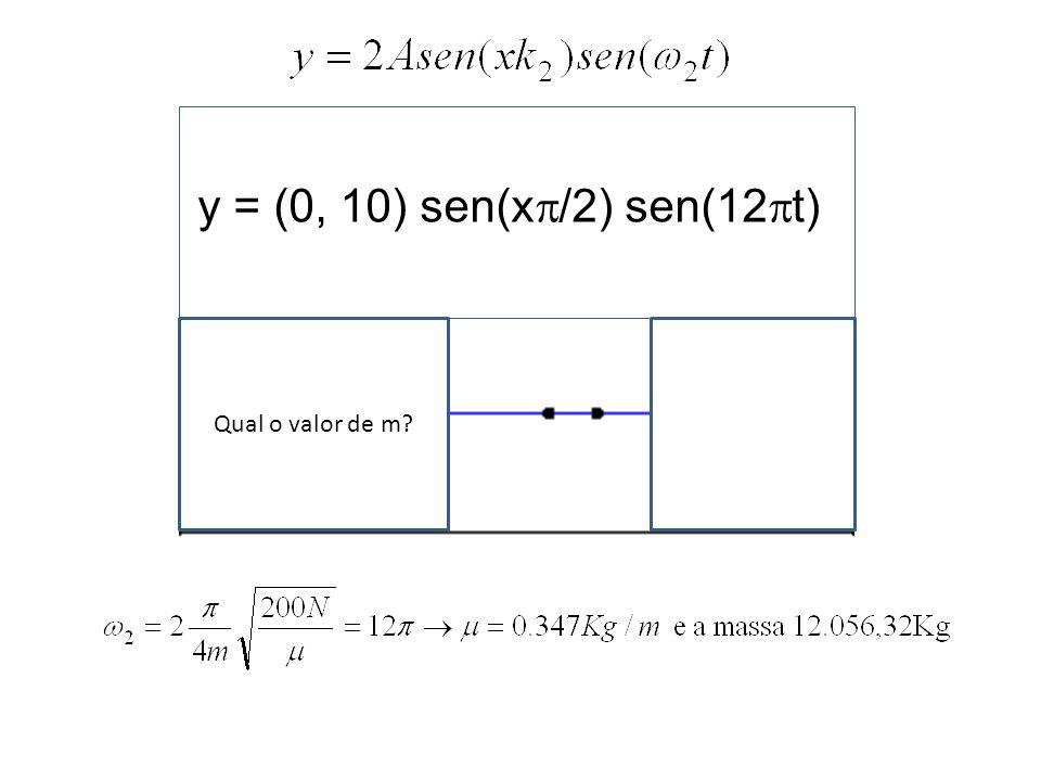 Qual o valor de v ?l y = (0, 10) sen(x /2) sen(12 t)
