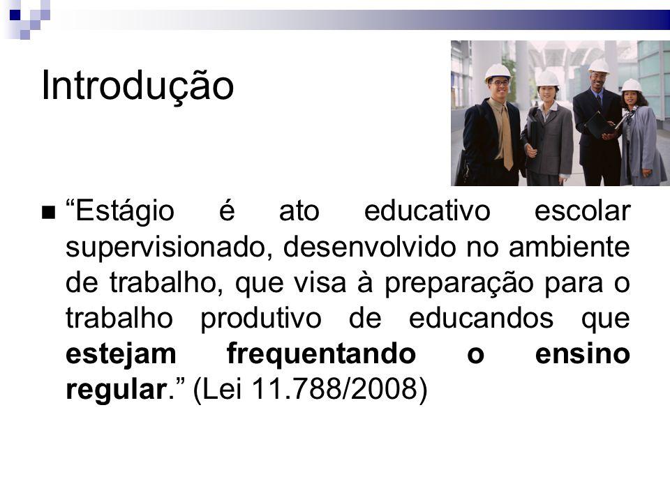 Introdução Estágio é ato educativo escolar supervisionado, desenvolvido no ambiente de trabalho, que visa à preparação para o trabalho produtivo de educandos que estejam frequentando o ensino regular.