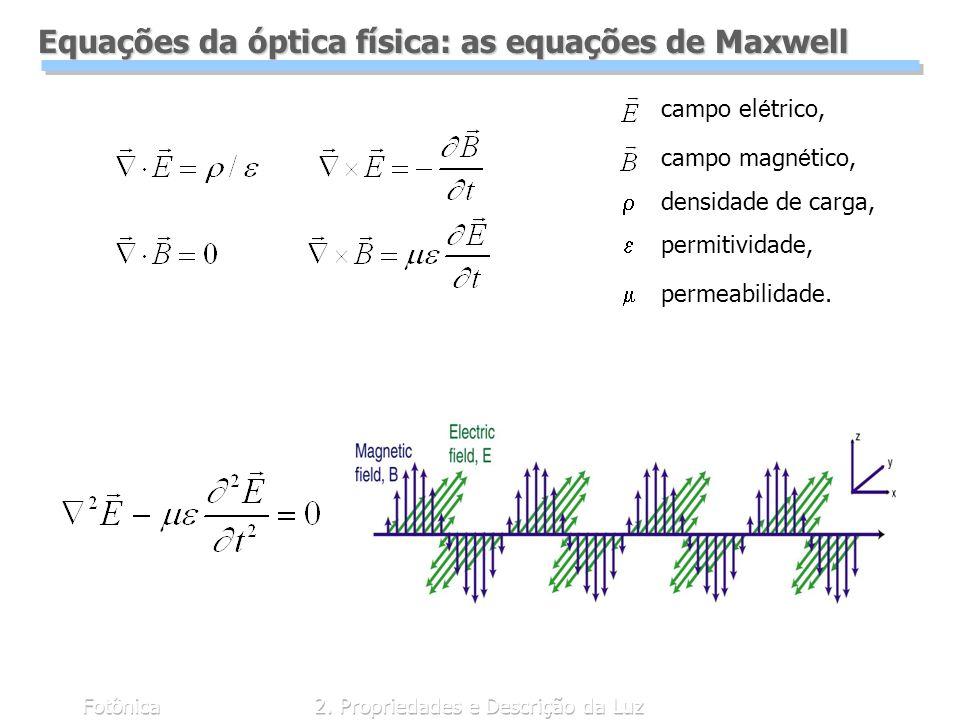 Fotônica2. Propriedades e Descrição da Luz Equações da óptica física: as equações de Maxwell campo el é trico, campo magn é tico, densidade de carga,