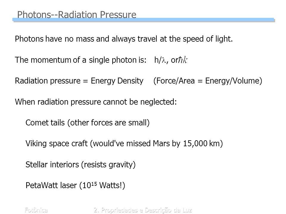 Fotônica2. Propriedades e Descrição da Luz Photons--Radiation Pressure Photons have no mass and always travel at the speed of light. The momentum of a