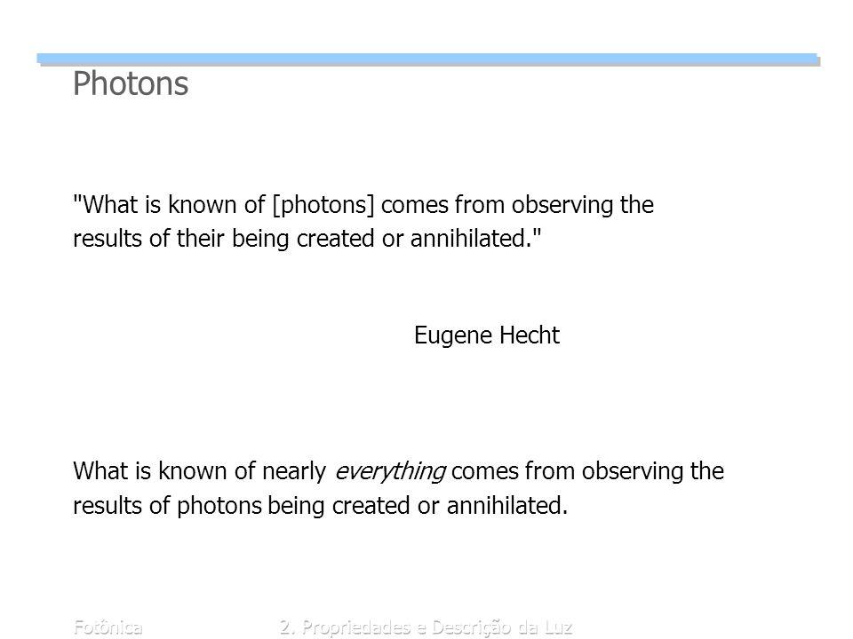 Fotônica2. Propriedades e Descrição da Luz Photons