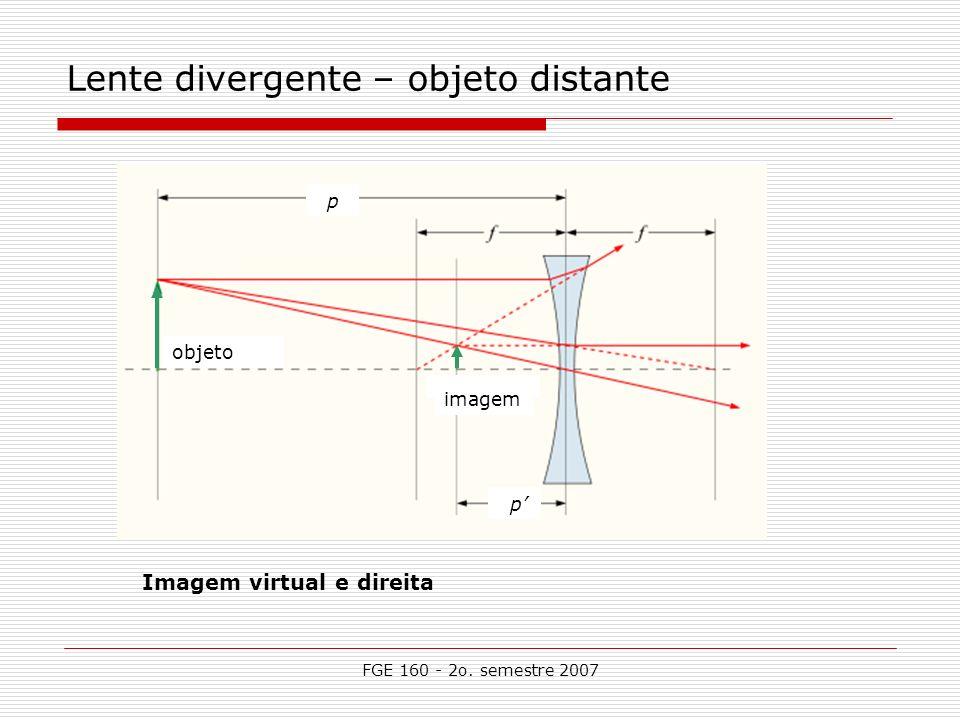 FGE 160 - 2o. semestre 2007 Lente divergente – objeto distante p p imagem objeto Imagem virtual e direita