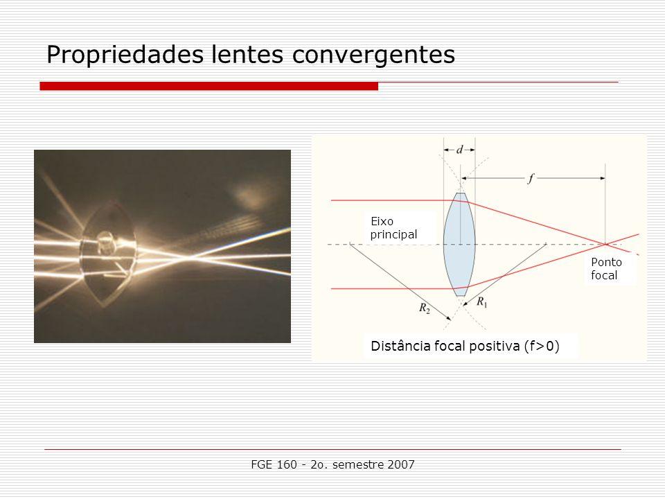 FGE 160 - 2o. semestre 2007 Propriedades lentes convergentes Ponto focal Eixo principal Distância focal positiva (f>0)