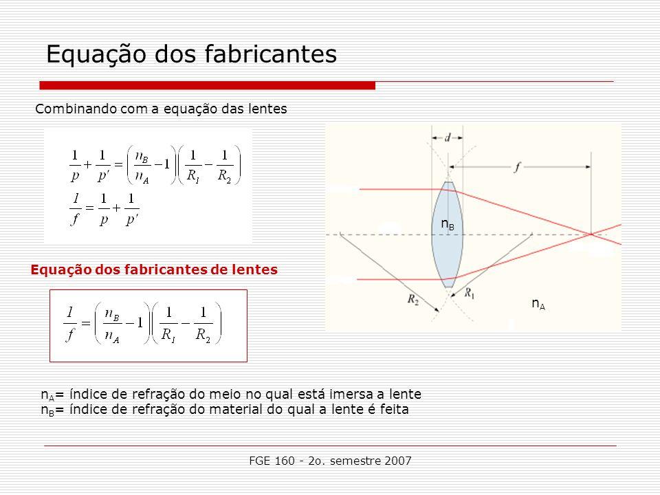 FGE 160 - 2o. semestre 2007 Equação dos fabricantes Equação dos fabricantes de lentes Combinando com a equação das lentes n A nBnB n A = índice de ref