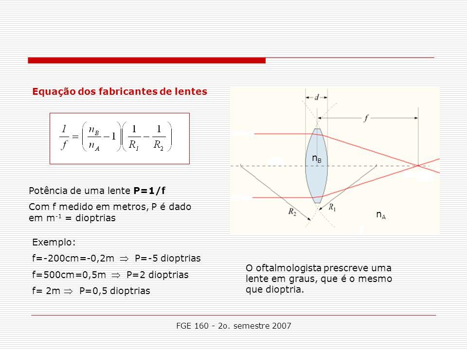 FGE 160 - 2o. semestre 2007 Equação dos fabricantes de lentes n A nBnB Potência de uma lente P=1/f Com f medido em metros, P é dado em m -1 = dioptria