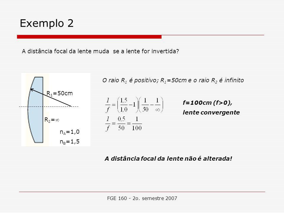 FGE 160 - 2o. semestre 2007 Exemplo 2 A distância focal da lente muda se a lente for invertida? n A =1,0 n B =1,5 f=100cm (f>0), lente convergente O r