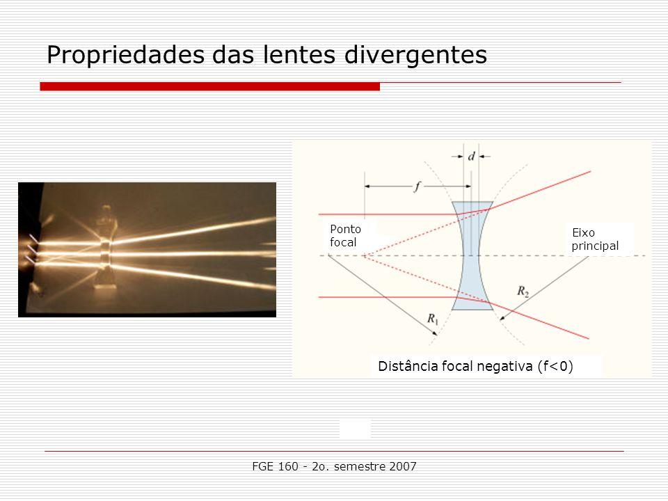 FGE 160 - 2o. semestre 2007 Propriedades das lentes divergentes Distância focal negativa (f<0) Ponto focal Eixo principal