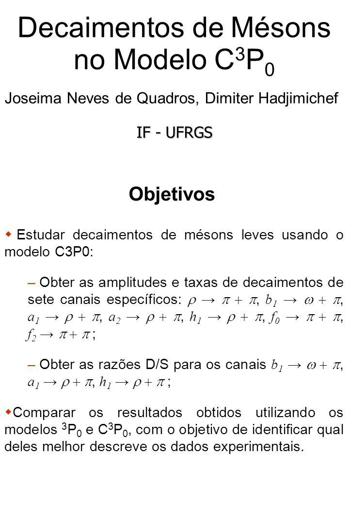 Decaimentos de Mésons no Modelo C 3 P 0 Joseima Neves de Quadros, Dimiter Hadjimichef IF - UFRGS Objetivos Estudar decaimentos de mésons leves usando o modelo C3P0: – Obter as amplitudes e taxas de decaimentos de sete canais específicos:, b 1, a 1, a 2, h 1, f 0, f 2 ; – Obter as razões D/S para os canais b 1, a 1, h 1 ; Comparar os resultados obtidos utilizando os modelos 3 P 0 e C 3 P 0, com o objetivo de identificar qual deles melhor descreve os dados experimentais.