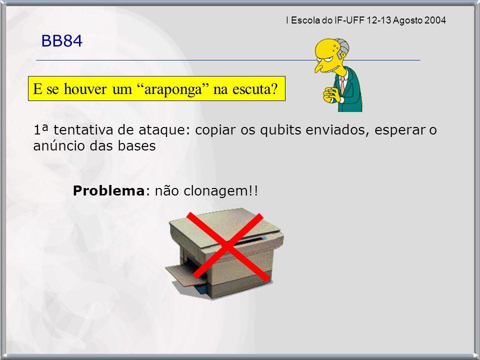 I Escola do IF-UFF 12-13 Agosto 2004 BB84 1ª tentativa de ataque: copiar os qubits enviados, esperar o anúncio das bases E se houver um araponga na escuta.